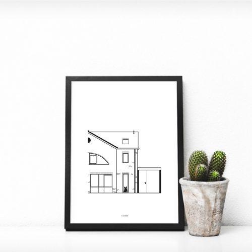 Jouw huis op poster -voorbeeld- Studio MEEMS