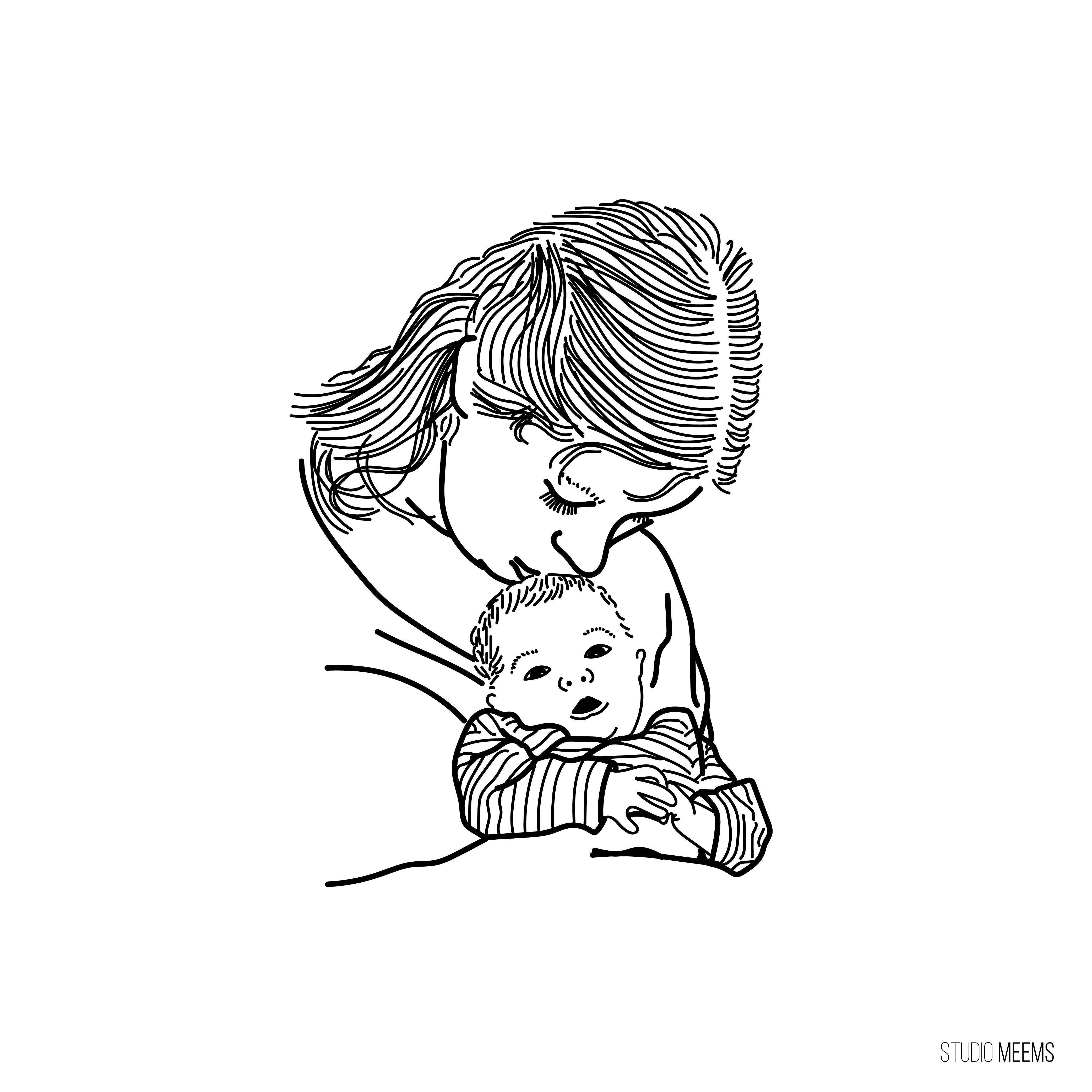 Moeder-kind illustratie
