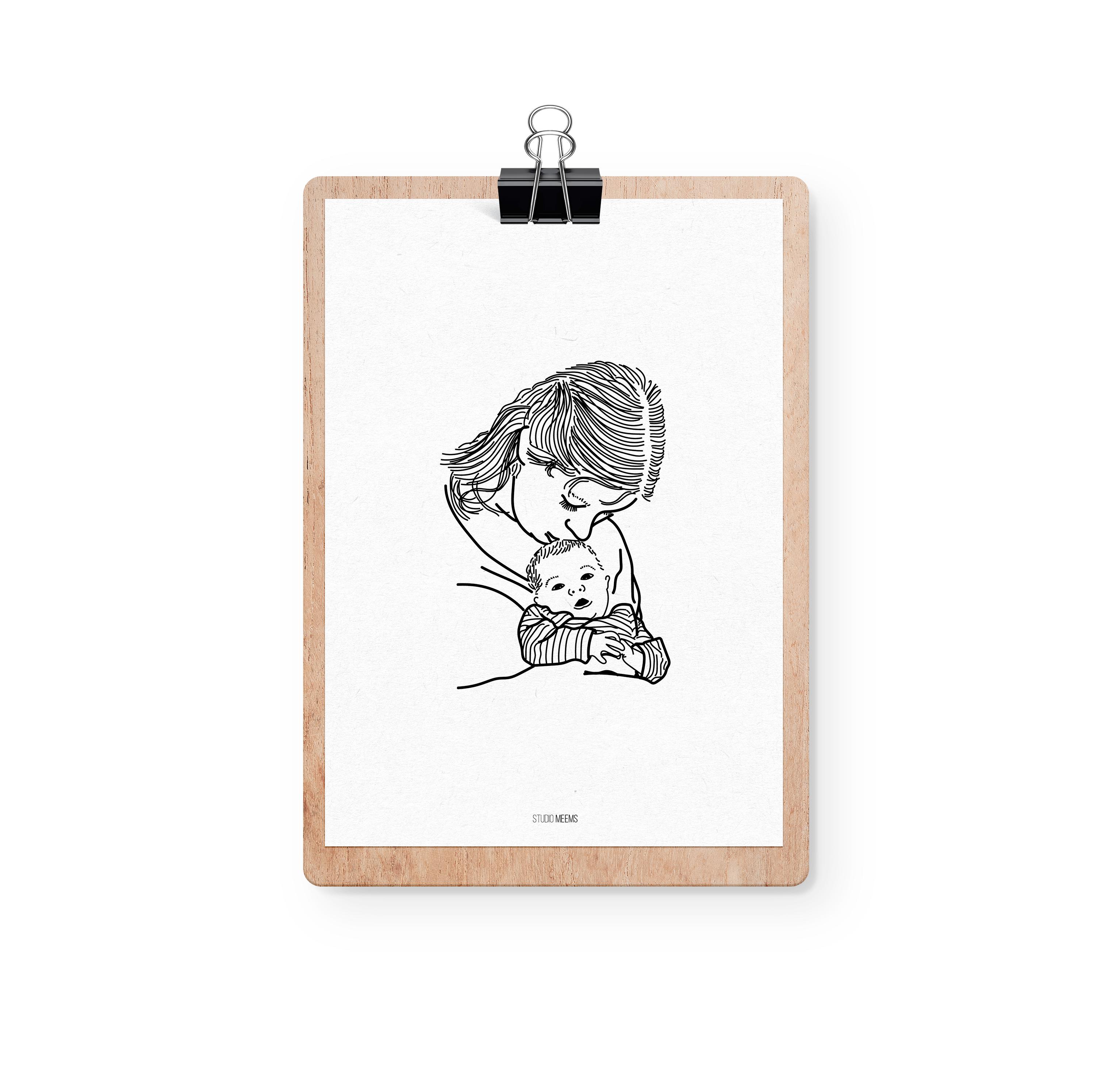 Moeder-kind illustratie poster